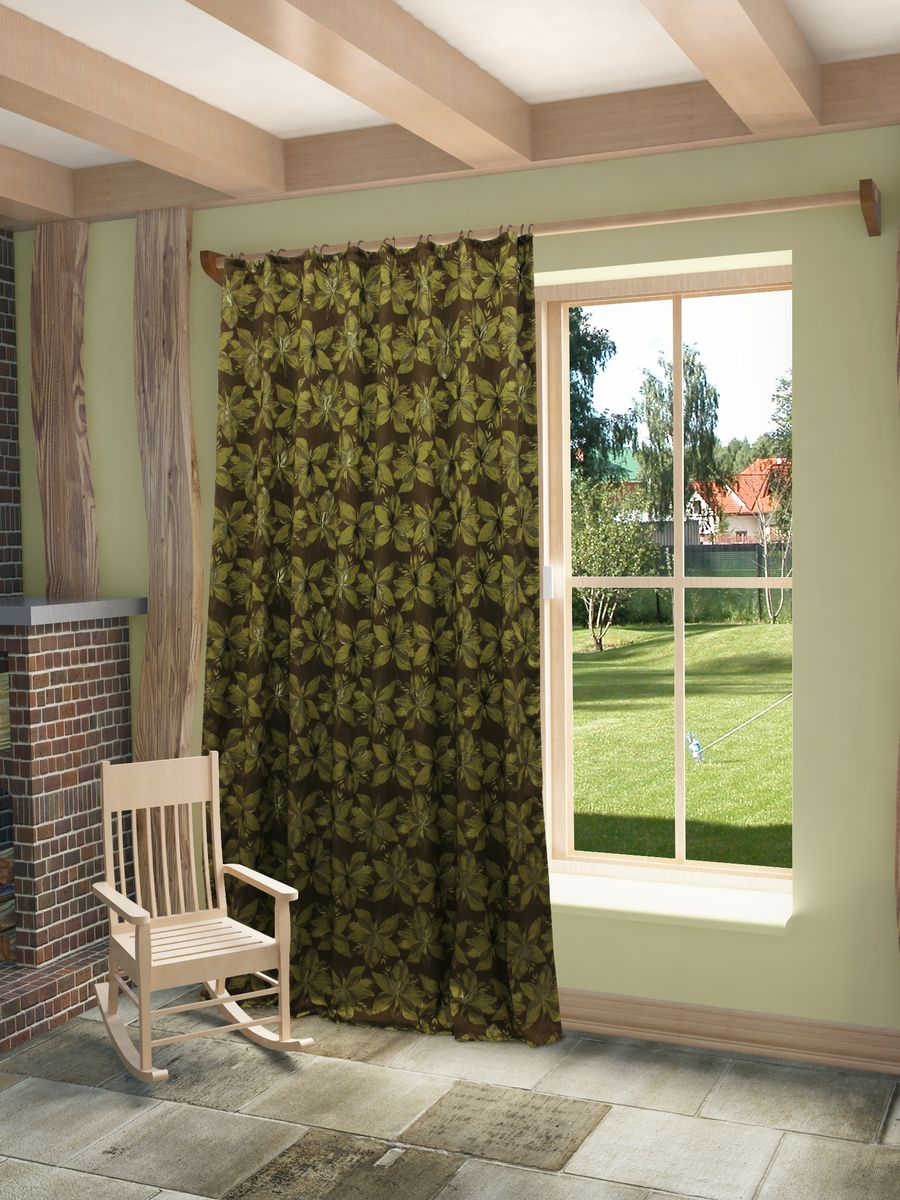 Штора Sanpa Home Collection  Хильда, на ленте, цвет: коричневый, зеленый, высота 260 см тюль sanpa home collection готовый тюль