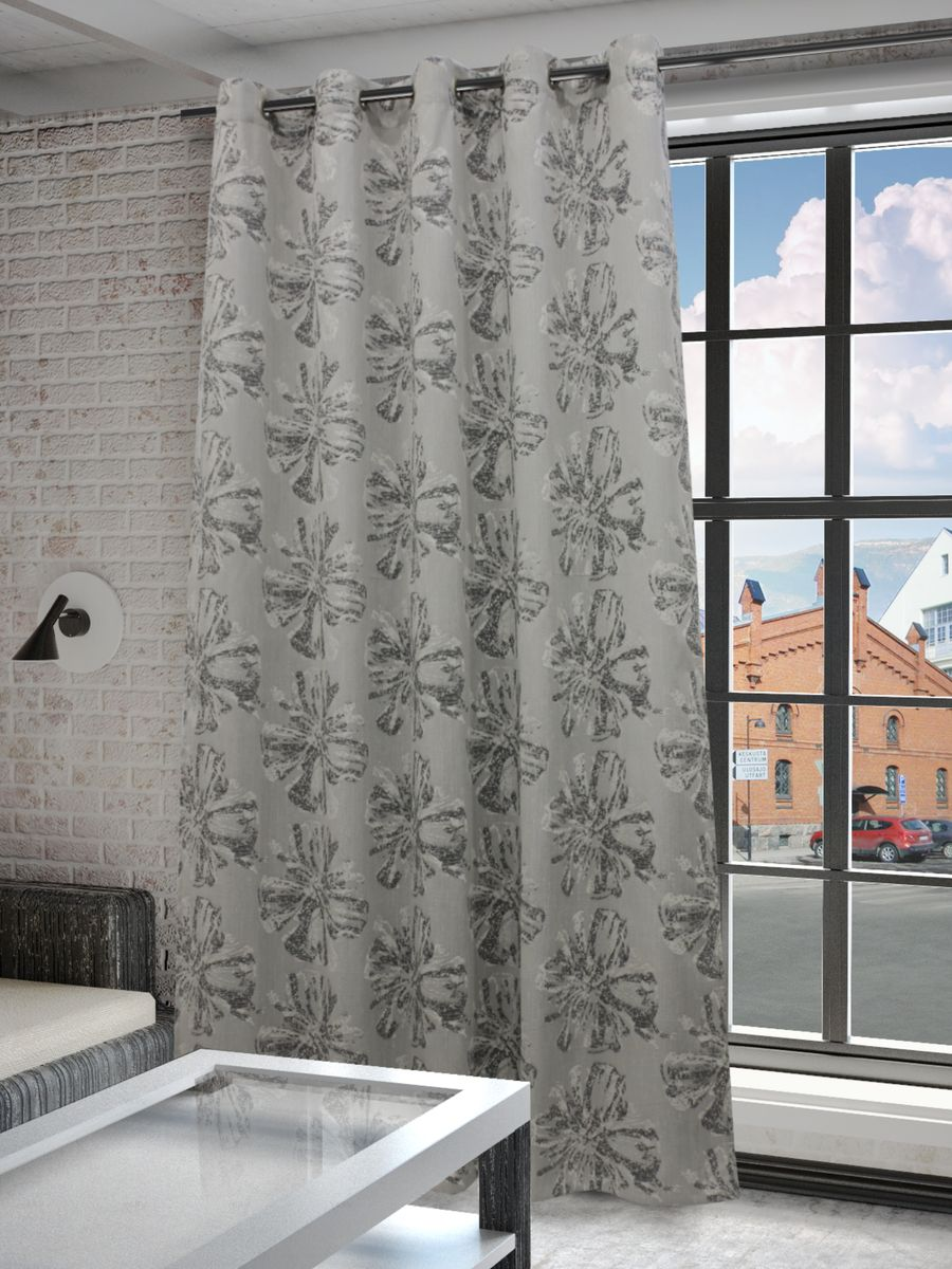 Штора Sanpa Home Collection Луана, на люверсах, цвет: серый, высота 260 см штора kauffort роса на люверсах высота 260 см