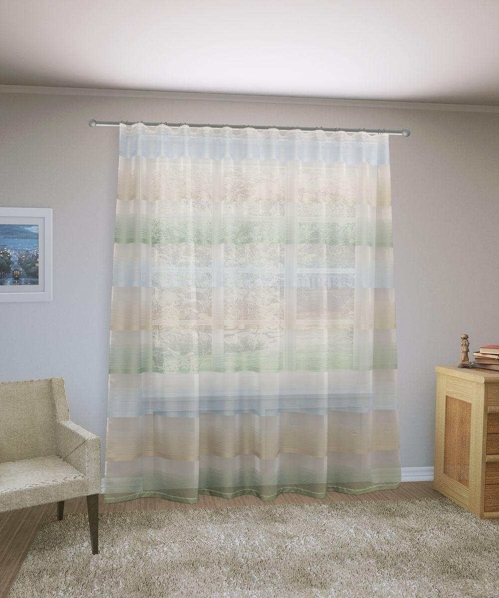 Тюль Sanpa Home Collection Лучиана, на ленте, цвет: белый, желтый, зеленый, высота 255 см тюль sanpa home collection готовый тюль
