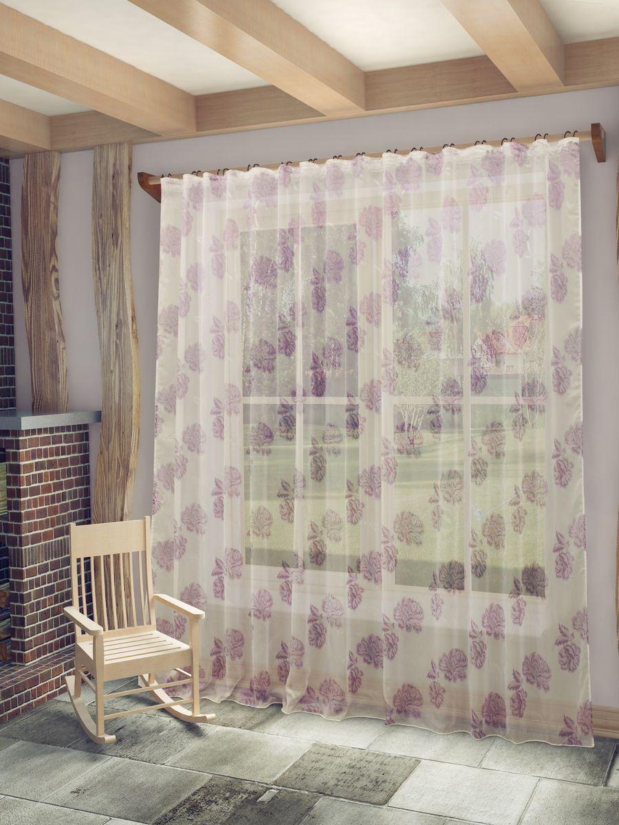 """Тюль Sanpa Home Collection """"Илерия"""", на ленте, цвет: сиреневый, высота 260 см"""
