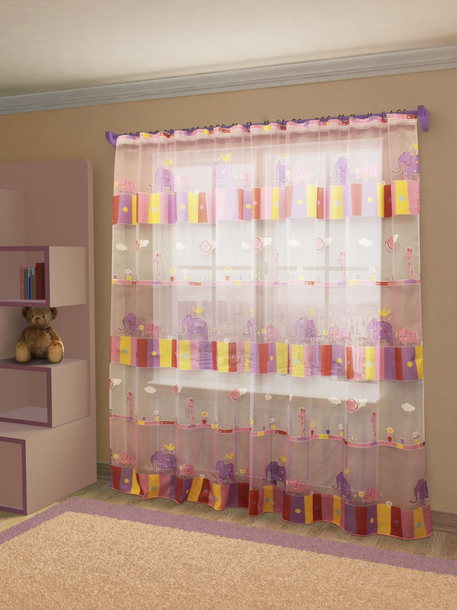 Тюль Sanpa Home Collection Эльфина, на ленте, цвет: розовый, фиолетовый, высота 260 см тюль sanpa home collection готовый тюль