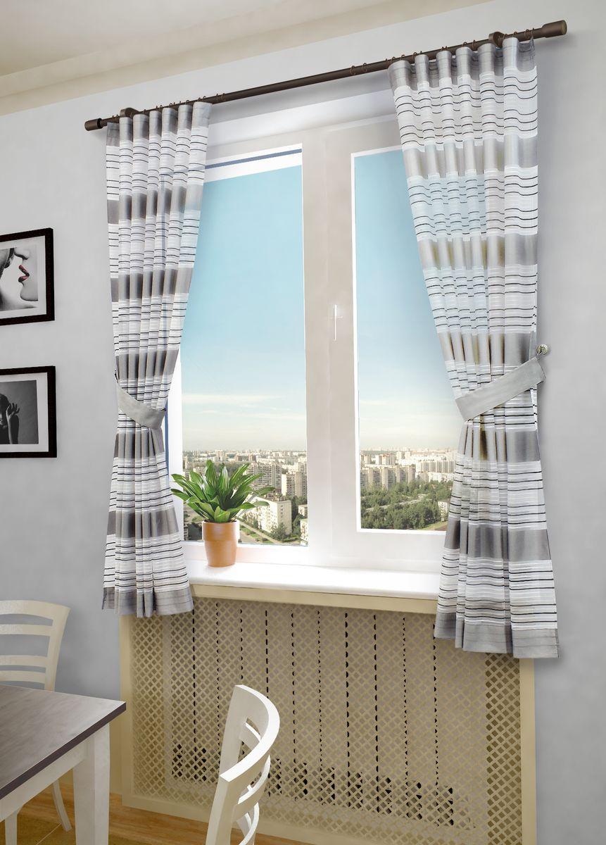 Тюль Sanpa Home Collection Зебра, на люверсах, цвет: серый, высота 260 см