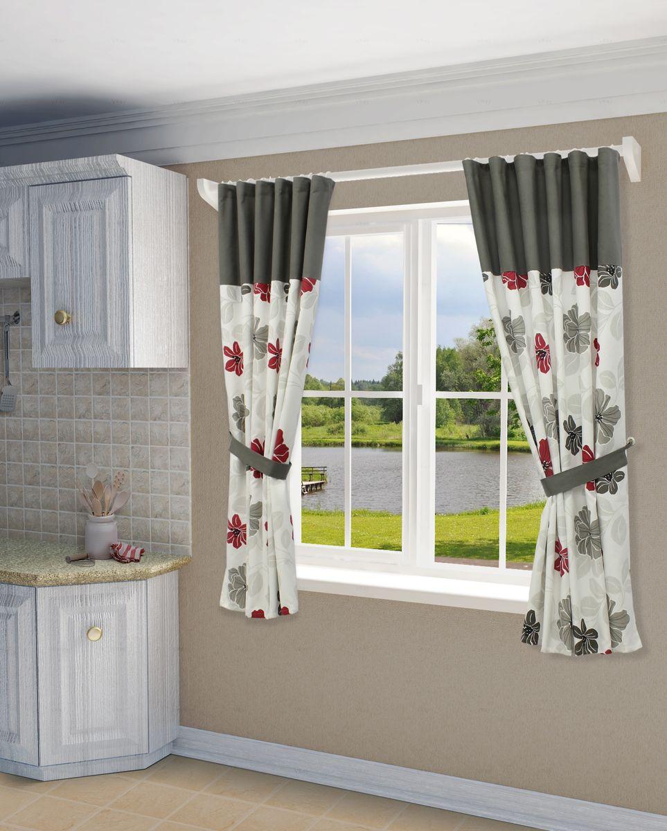 Комплект штор Sanpa Home Collection Юдора, на ленте, цвет: серый, красный, высота 180 см комплект штор для кухни wisan celina на ленте цвет белый оранжевый высота 180 см