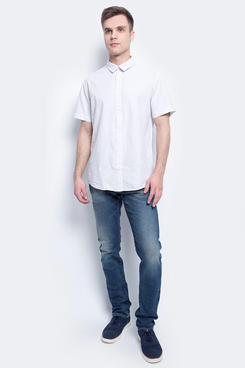 Рубашка мужская Baon, цвет: белый. B687018_Amazonite Striped. Размер M (48)B687018_Amazonite StripedРубашка мужская Baon выполнена из натурального материала. Модель с отложным воротником и короткими рукавами застегивается на пуговицы.