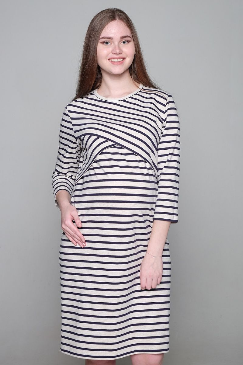 Платье для беременных и кормящих Hunny Mammy, цвет: бежевый, темно-синий. 2-НМ 35314. Размер 462-НМ 35314Платье для беременных и кормящих Hunny Mammy выполнено из футерного плотного трикотажного полотна. Современная модель платья с круглым вырезом горловины и рукавами 3/4 придется по вкусу многим женщинам. Секрет для кормления малыша расположен под фигурной кокеткой. Изделие оформлено принтом в полоску.