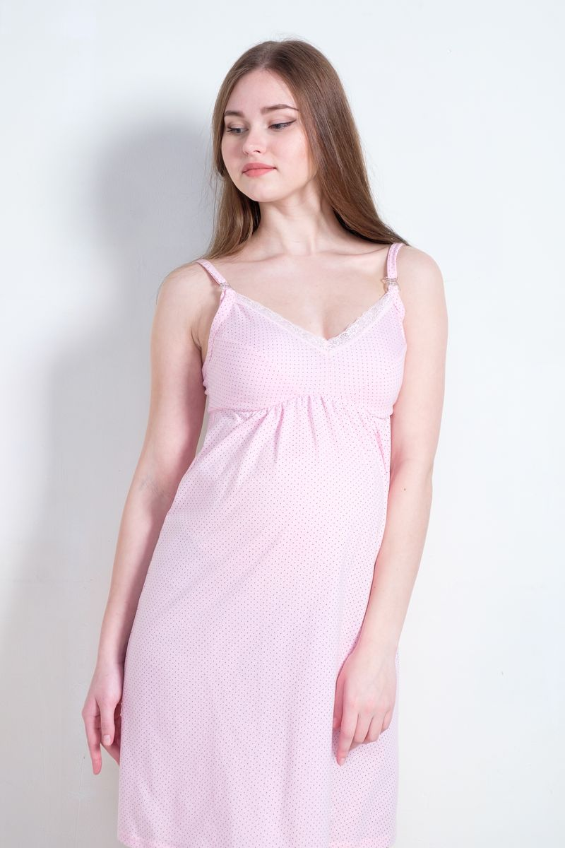 Ночная сорочка для беременных и кормящих Hunny Mammy, цвет: светло-розовый. 1-НМП 21601. Размер 461-НМП 21601Ночная сорочка Hunny Mammy изготовлена из натурального хлопка. Модель с V-образным вырезом горловины и удобным секретом для кормления создана для максимального комфорта будущих и кормящих мам. Удобная конструкция лифа позволит носить сорочку без бюстгальтера. Сорочка с регулируемыми бретелями имеет застежки-клипсы. Небольшая сборочка под грудью идеально лежит на беременном животике и обеспечивает комфорт и удобство. Сорочка оформлена принтом и украшена изящным кружевом.