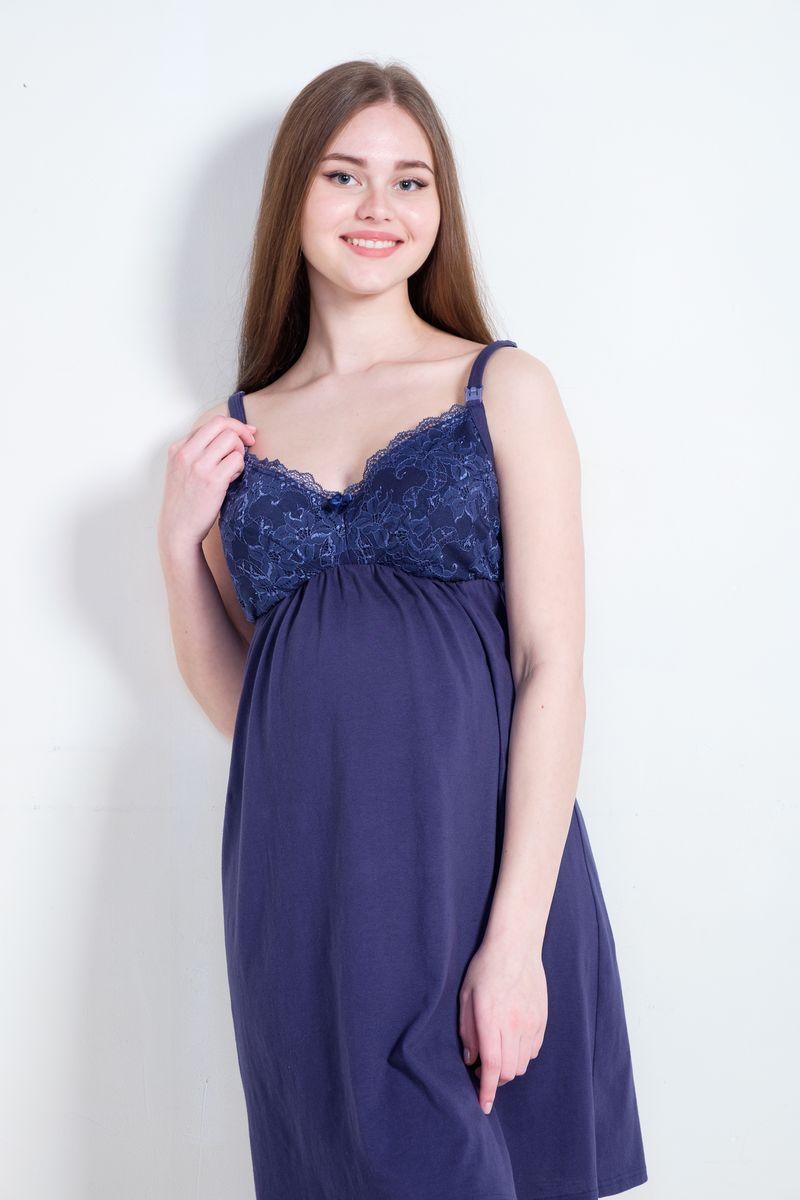 Ночная сорочка для беременных и кормящих Hunny Mammy, цвет: синий. 1-НМП 21501. Размер 44 сорочка ночная для беременных и кормящих мамин дом мамин дом цвет голубой 24130 размер 48