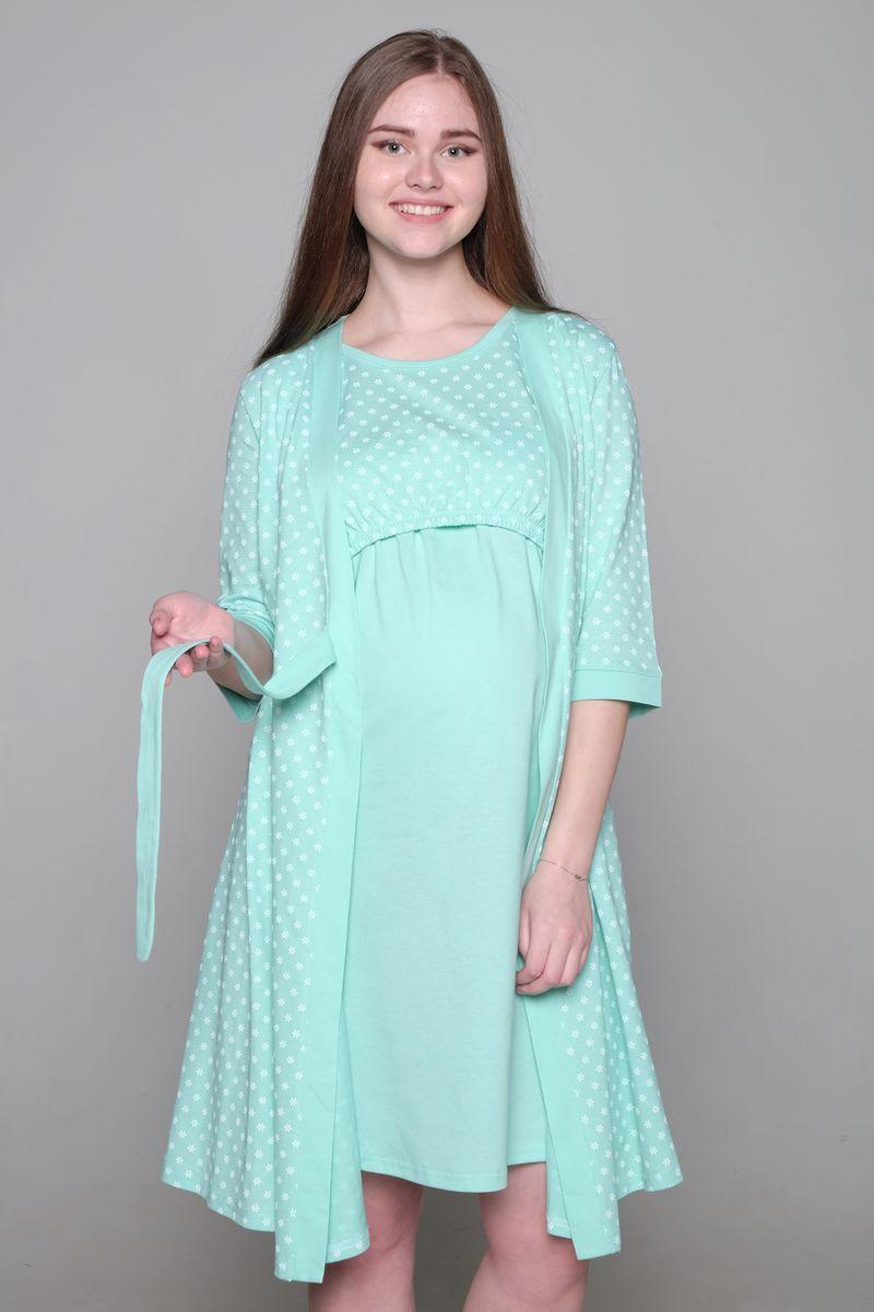 Комплект для беременных и кормящих Hunny Mammy: халат, сорочка ночная, цвет: светло-бирюзовый. 1-НМК 07720. Размер 501-НМК 07720Комплект Hunny Mammy, изготовленный из натурального хлопка, состоит из халата и ночной сорочки. Халат на запах с рукавами 3/4 оформлен принтом. Для кормления на сорочке предусмотрен секрет для кормления малыша.