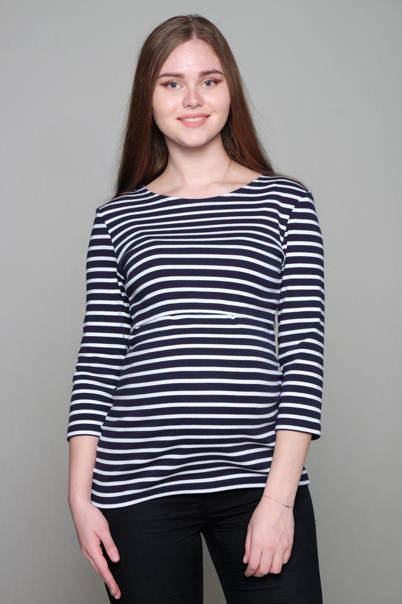 Блузка для беременных и кормящих Hunny Mammy, цвет: темно-синий, белый. 1-НМ 35504. Размер 441-НМ 35504Блузка для беременных и кормящих Hunny Mammy выполнена из натурального хлопка. Модель с круглым вырезом горловины и рукавами 3/4 оформлена принтом в полоску. Во время беременности блузка нежно облегает растущий животик, после рождения малыша удобна классическим горизонтальным секретом для кормления.