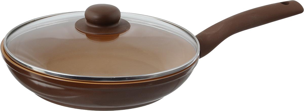 Сковорода NaturePan Ceramic с крышкой, с керамическим покрытием. Диаметр 24 смCrPI24/крСковорода NaturePan Ceramic выполнена из высококачественного алюминия с антипригарным керамическим покрытием Gleblon Ceramic. Покрытие абсолючно безопасно для здоровья, не содержит вредных веществ, при использовании не выделяет вредного химического испарения и устойчиво к царапинам. Керамическое покрытие позволит вам готовить вкусную и здоровую еду с минимальным добавлением масла и жира. Выдерживает температуру до +400°C.Усиленное кованное дно обеспечивает равномерное распределение тепла по всей поверхности сковороды, что улучшает качество приготовленной пищи.Сковорода оснащена удобной пластиковой ручкой с противоскользящим покрытием, которая не нагревается. В комплект входит крышка из жаропрочного стекла. Крышка оснащена удобной ручкой и металлическим ободом и имеет отверстие для выпуска пара.Подходит для всех типов плит, включая индукционные. Можно мыть в посудомоечной машине.Высота стенки: 5 см. Длина ручки: 18 см.