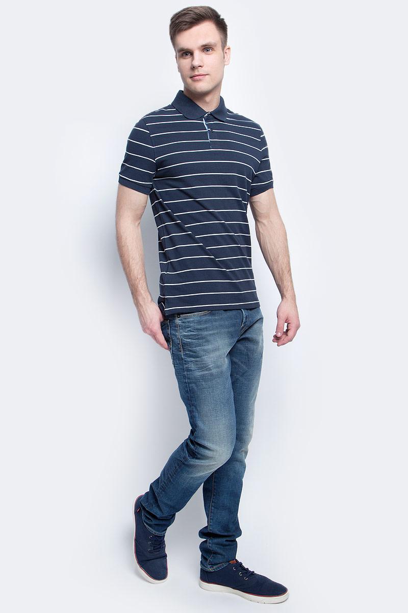 Поло мужское Baon, цвет: темно-синий. B707004_Deep Navy Striped. Размер M (48)B707004_Deep Navy StripedПоло мужское Baon выполнено из натурального хлопка. Модель с отложным воротником и короткими рукавами застегивается на пуговицы.