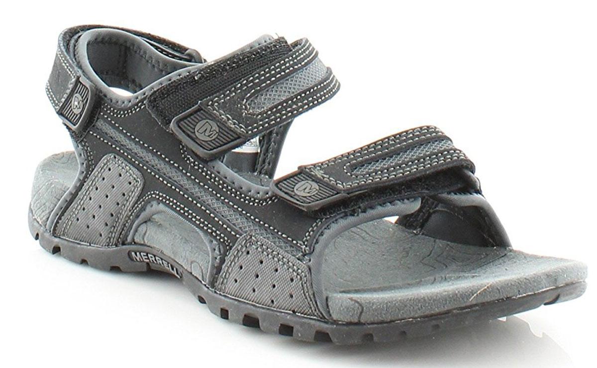 Сандалии мужские Merrell Sandspur Oak, цвет: черный, серый. 276754C. Размер 8 (40,5)276754CНевероятно удобные мужские сандалии от Merrell выручат вас в жаркую погоду. Модель выполнена из натуральной кожи с полиуретановым покрытием. Ремешки на застежках-липучках, дополненные логотипом бренда, обеспечивают прочную фиксацию модели на ноге. Мягкая стелька комфортна при движении. Промежуточная подошва из материала EVA с использованием технологии Air Cushion стабилизирует стопу и поглощает удары при ходьбе. Износостойкая подошва с рифлением обеспечивает надежное сцепление с поверхностью.Стильные сандалии прекрасно дополнят ваш летний образ.