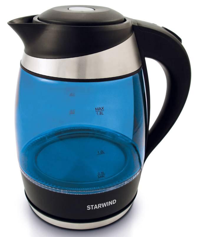 Starwind SKG2216, Blue Black чайник электрическийSKG2216Электрический чайник Starwind SKG2216 прост в управлении и долговечен в использовании.При его производстве используются высококачественные материалы. Мощность 2200 Втбыстро вскипятит 1,8 литра воды. Для обеспечения безопасности при повседневномиспользовании предусмотрена функция автовыключения.