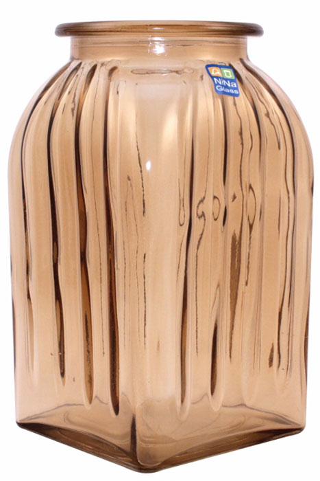 Ваза Nina Glass Ханна, цвет: коричневый, прозрачный, высота 18,5 смNG92-023M_коричневыйВаза Nina Glass Ханна, цвет: коричневый, прозрачный, высота 18,5 см