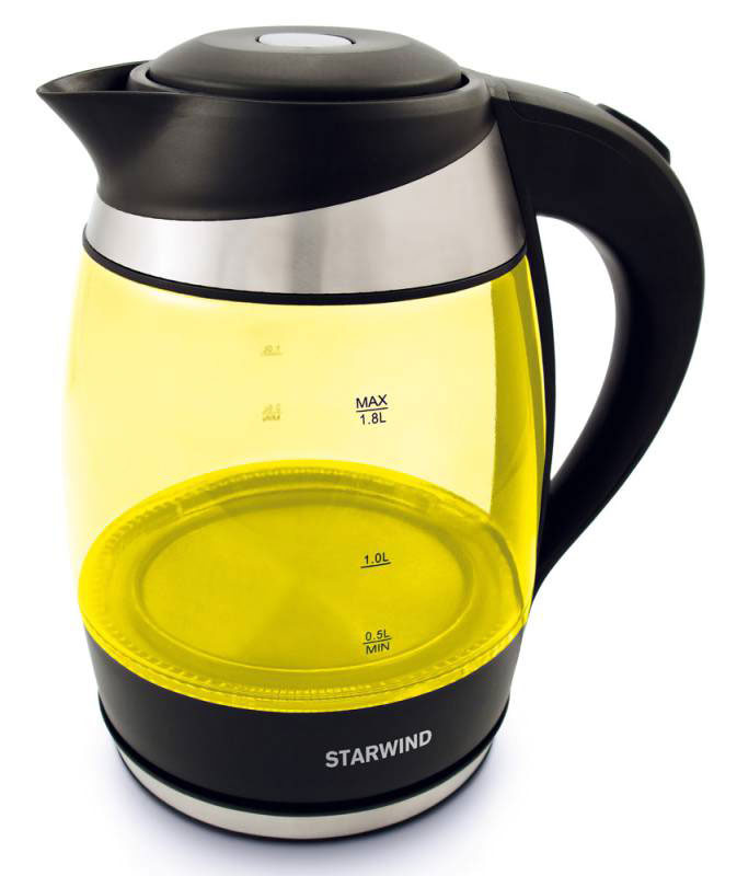 Starwind SKG2215, Yellow Black чайник электрическийSKG2215Электрический чайник Starwind SKG2215 прост в управлении и долговечен в использовании. При его производстве используются высококачественные материалы. Мощность 2200 Вт быстро вскипятит 1,8 литра воды. Для обеспечения безопасности при повседневном использовании предусмотрена функция автовыключения.