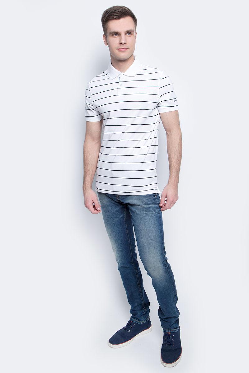 Поло мужское Baon, цвет: белый. B707004_White Striped. Размер XL (52)B707004_White StripedПоло мужское Baon выполнено из натурального хлопка. Модель с отложным воротником и короткими рукавами застегивается на пуговицы.