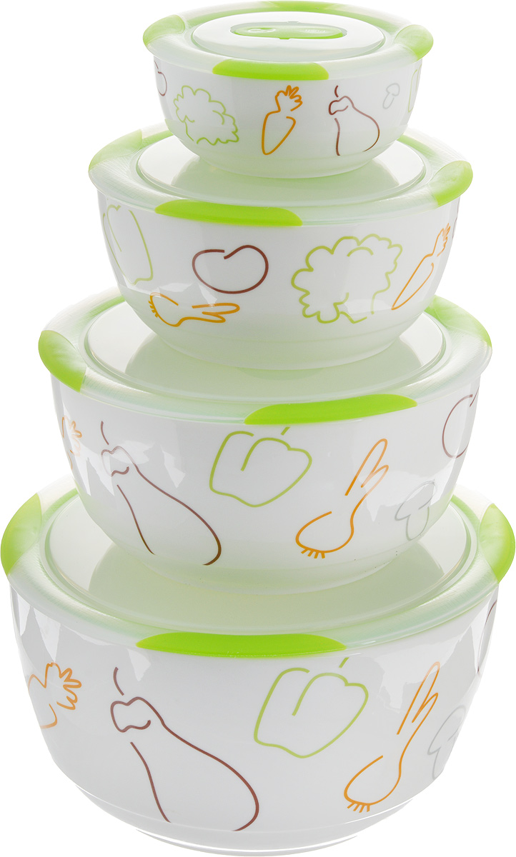 Набор мисок Oursson Bon Appetit, с крышками, цвет: зеленое яблоко, белый, 4 штAPRARN22009Набор Oursson состоит из четырех мисок разного размера, выполненных из керамики и оформленных рисунком. Керамика, из которой изготовлены емкости, выдерживает температуру до 250°С, поэтому подать блюда на стол можно сразу после приготовления в микроволновой печи или духовом шкафу.Миски снабжены плотно закрывающимися пластиковыми крышками с технологией Clip Fresh. Такой набор прекрасно подходит для хранения продуктов и соусов без проливания, которые не прольются при переноске благодаря силиконовому уплотнителю, обеспечивающему 100% герметичность.Миски являются универсальным приобретением для любой кухни. С их помощью можно готовить блюда, хранить продукты и даже сервировать стол. Оригинальный дизайн, высокое качество и функциональность набора Oursson позволят ему стать достойным дополнением к вашему кухонному инвентарю.Можно мыть в посудомоечной машине. Характеристика емкости №1: Объем: 3 л.Высота стенки: 11,2 см. Диаметр (по верхнему краю): 21,3 см.Характеристика емкости №2: Объем: 1,7 л.Высота стенки: 9 см.Диаметр (по верхнему краю): 18,1 см. Характеристика емкости №3: Объем: 850 мл.Высота стенки: 6,8 см.Диаметр (по верхнему краю): 15 см. Характеристика емкости №4: Объем: 300 мл.Высота стенки: 4,6 см.Диаметр (по верхнему краю): 10,9 см.