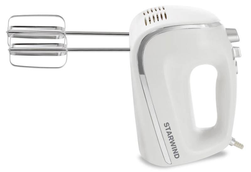 Starwind SHM5481, White Silver миксерSHM5481Ручной миксер Starwind SHM5481 с мощностью 450 Вт, режимом Турбо и 5 скоростями вращения. Имеет две пары практичных насадок для тщательного взбивания и для замешивания теста, которые гарантируют идеальный результат работы. Для большего удобства данная модель снабжена кнопкой легкого отсоединения насадок. Миксер удобен в использовании как правой, так и левой рукой.