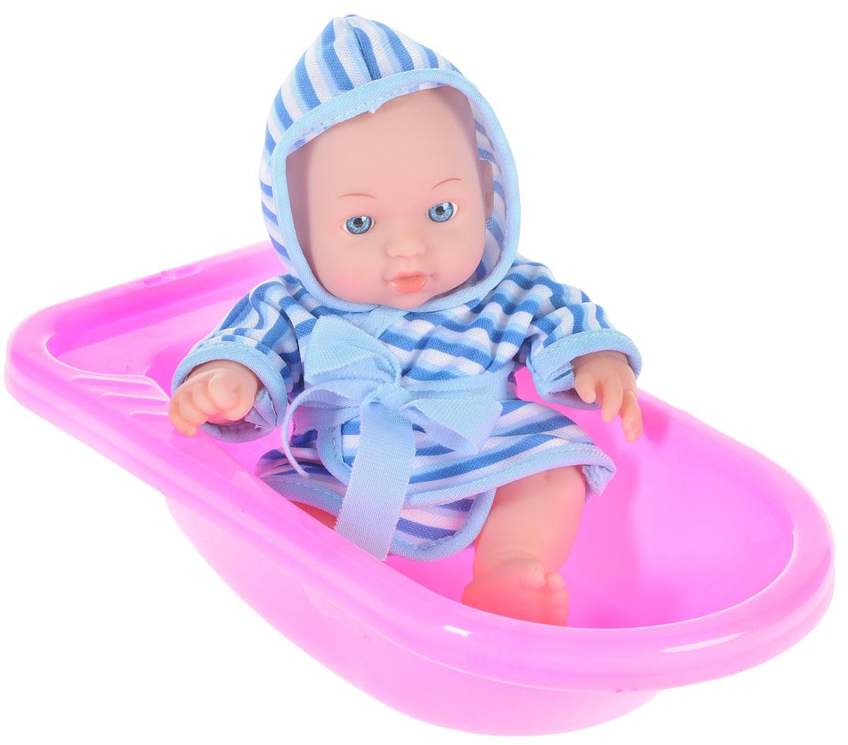 Карапуз Игровой набор с куклой Пупс в ванночке цвет розовый голубой bambolina игровой набор с куклой пупс в ванночке