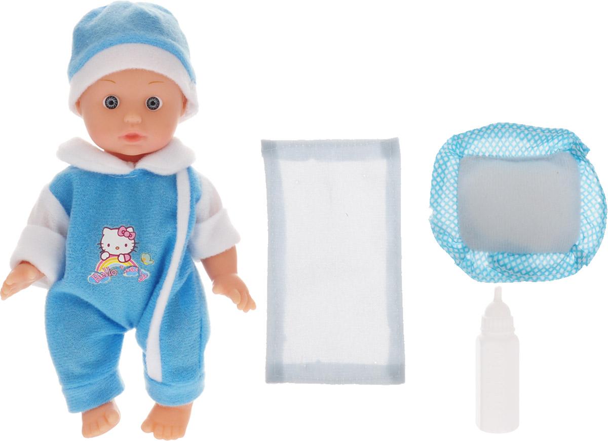 купить Карапуз Пупс озвученный Hello Kitty цвет одежды голубой белый онлайн