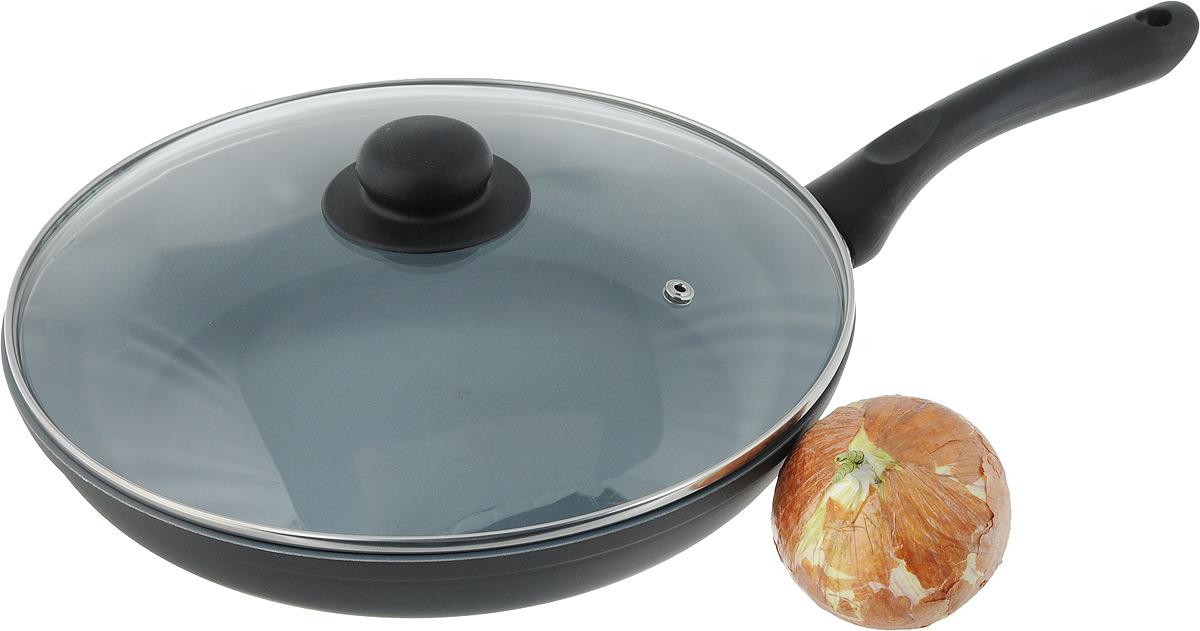 """Сковорода NaturePan """"Classic"""" выполнена из высококачественного алюминия с антипригарным керамическим покрытием. Покрытие абсолютно безопасно для  здоровья, так ка не содержит PTFE и PFOA. Керамическое покрытие позволит вам готовить вкусную и здоровую еду с минимальным добавлением масла и жира.  Сковорода оснащена удобной пластиковой ручкой, которая не нагревается. В комплект входит крышка из жаропрочного стекла. Крышка оснащена удобной  ручкой и металлическим ободом и имеет отверстие для выпуска пара.  Подходит для всех типов плит, кроме индукционных. Разрешена только ручная мойка.  Высота стенки: 5 см. Длина ручки: 18 см."""