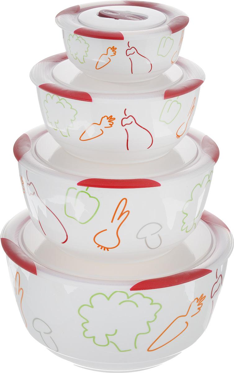 Набор мисок Oursson Bon Appetit, с крышками, цвет: темная вишня, белый, 4 штBS5980RC/DCНабор Oursson состоит из четырех мисок разного размера, выполненных из керамики и оформленных рисунком. Керамика, из которой изготовлены емкости, выдерживает температуру до 250°С, поэтому подать блюда на стол можно сразу после приготовления в микроволновой печи или духовом шкафу. Миски снабжены плотно закрывающимися пластиковыми крышками с технологией Clip Fresh. Такой набор прекрасно подходит для хранения продуктов и соусов без проливания, которые не прольются при переноске благодаря силиконовому уплотнителю, обеспечивающему 100%герметичность. Миски являются универсальным приобретением для любой кухни. С их помощью можно готовить блюда, хранить продукты и даже сервировать стол. Оригинальный дизайн, высокое качество ифункциональность набора Oursson позволят ему стать достойным дополнением к вашему кухонному инвентарю. Можно мыть в посудомоечной машине.Характеристика емкости №1:Объем: 3 л. Высота стенки: 11,3 см.Диаметр (по верхнему краю): 21,3 см.Характеристика емкости №2:Объем: 1,7 л. Высота стенки: 9 см. Диаметр (по верхнему краю): 18,1 см. Характеристика емкости №3:Объем: 850 мл. Высота стенки: 6,8 см. Диаметр (по верхнему краю): 15 см. Характеристика емкости №4:Объем: 300 мл. Высота стенки: 4,6 см. Диаметр (по верхнему краю): 10,9 см.