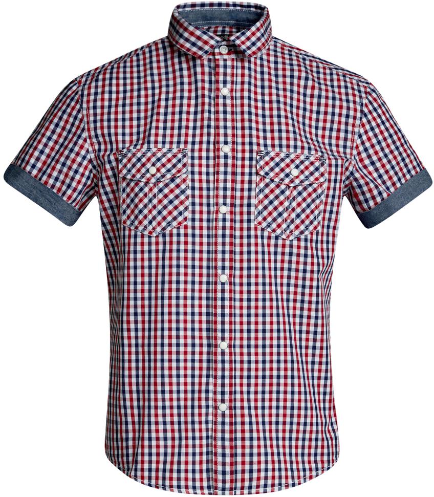 Рубашка мужская oodji Lab, цвет: белый, красный. 3L410105M/34319N/1045C. Размер M-182 (50-182)3L410105M/34319N/1045CМужская рубашка от oodji выполнена из натурального хлопка. Модель приталенного кроя с короткими рукавами застегивается на кнопки.
