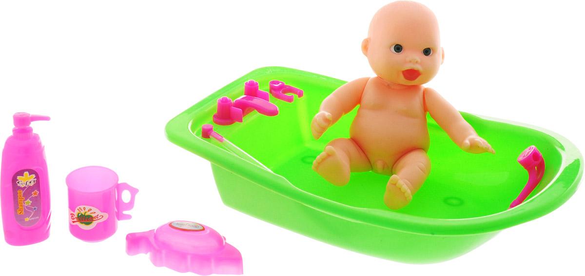 Veld-Co Пупс с ванночкой цвет зеленый 32560 куклы и одежда для кукол veld co пупс с аксессуарами 43051