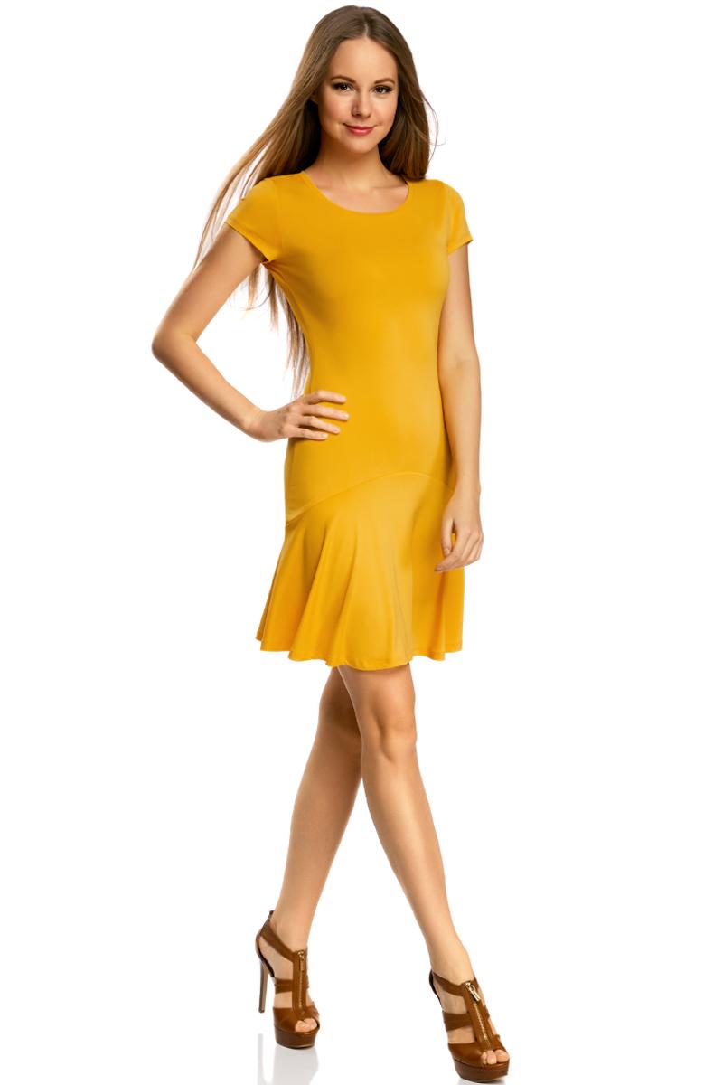 Платье oodji Ultra, цвет: желтый. 14011017/46384/5200N. Размер XXS (40)14011017/46384/5200NПриталенное платье oodji Ultra с юбкой-воланами выполнено из качественного трикотажа. Модель средней длины с круглым вырезом горловины и короткими рукавами выгодно подчеркнет достоинства фигуры.