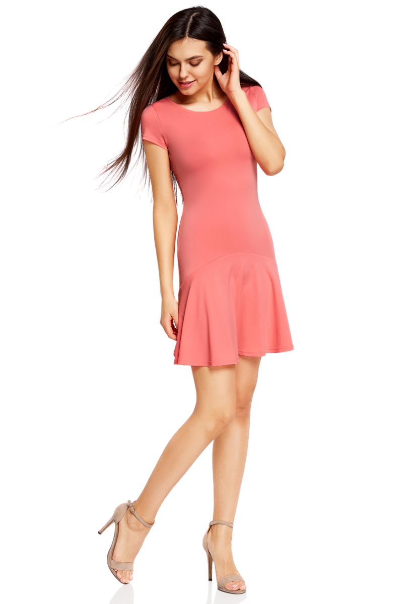 Платье oodji Ultra, цвет: ярко-розовый. 14011017/46384/4D00N. Размер XS (42)14011017/46384/4D00NПриталенное платье oodji Ultra с юбкой-воланами выполнено из качественного трикотажа. Модель средней длины с круглым вырезом горловины и короткими рукавами выгодно подчеркнет достоинства фигуры.