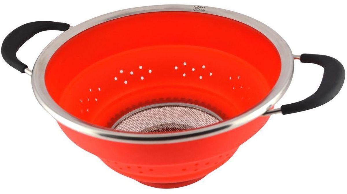 Дуршлаг Gipfel, складной, цвет: красный, диаметр 25 см2605Посуда Gipfel изготовлена только из качественных, экологически чистых материалов. Также уделяется особое внимание дизайну продукции, способному удовлетворять вкусы даже самых взыскательных покупателей. Сталь 8/10, из которой изготавливается посуда и аксессуары Gipfel, является уникальной. Она отличается высокими эксплуатационными характеристиками и крайне устойчива к физическим воздействиям. Сложно найти более подходящий для создания качественной кухонной посуды материал. Отличительной чертой металлической посуды, выполненной из подобной стали, является характерный сероватый оттенок поверхности и особый блеск. Это позволяет приготовить более здоровую пищу.