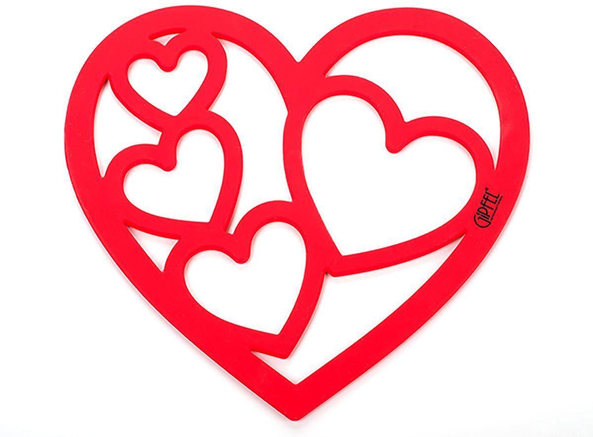 Подставка под горячее Gipfel, цвет: красный, 19 х 14,5 см2896Подставка силиконовая Gipfel - стильный и практичный аксессуар для защиты любых рабочих поверхностей на кухне от горячих кастрюль и сковород. Оригинальное изделие в форме сердца с четырьмя разными по размеру сердцами посередине изготовлено из высокопрочного силикона FDA. Материал отличается повышенной эластичностью, устойчивостью к износу и деформации.Силиконовый коврик-подставка яркого цвета станет прекрасным дополнением к интерьеру вашей кухни. Изделие долго сохраняет свой первоначальный вид и спокойно выдерживает перепады температур. Подставка силиконовая Gipfel удобна в хранении и легка в уходе, что делает ее использование наиболее комфортным для каждого.