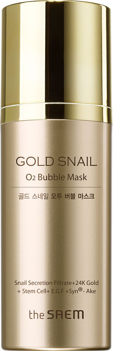 заказать The Saem Маска кислородная с муцином улитки Gold Snail O2 Bubble Mask (Jumbo), 105 гр