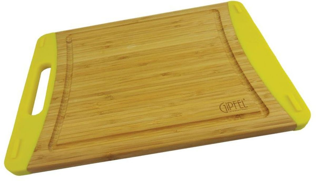 """Прямоугольная разделочная доска Gipfel """"Bamboo"""" изготовлена из бамбука - натурального, экологически чистого материала с антибактериальными свойствами. Доски из бамбука обладают высокой плотностью структуры древесины и устойчивы к механическим воздействиям.  Изделие дополнено силиконом, что предотвращает скольжение. Доска оснащена ручкой и выемками для стока жидкости. Подходит для любых видов ножей, включая керамические."""