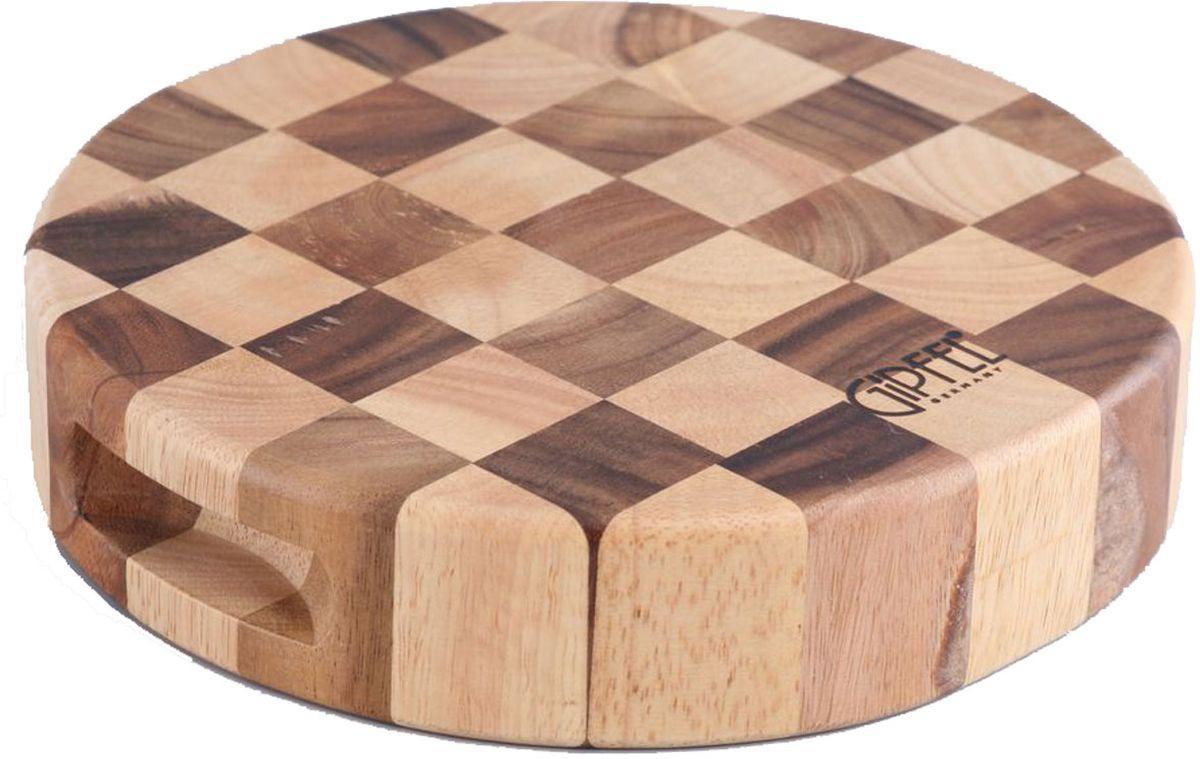 """Деревянная двухцветная разделочная доска """"Gipfel"""" - """"шахматы"""", круглая с выемкой, выполнена из комбинации темного и светлого дерева гевеи и акации."""