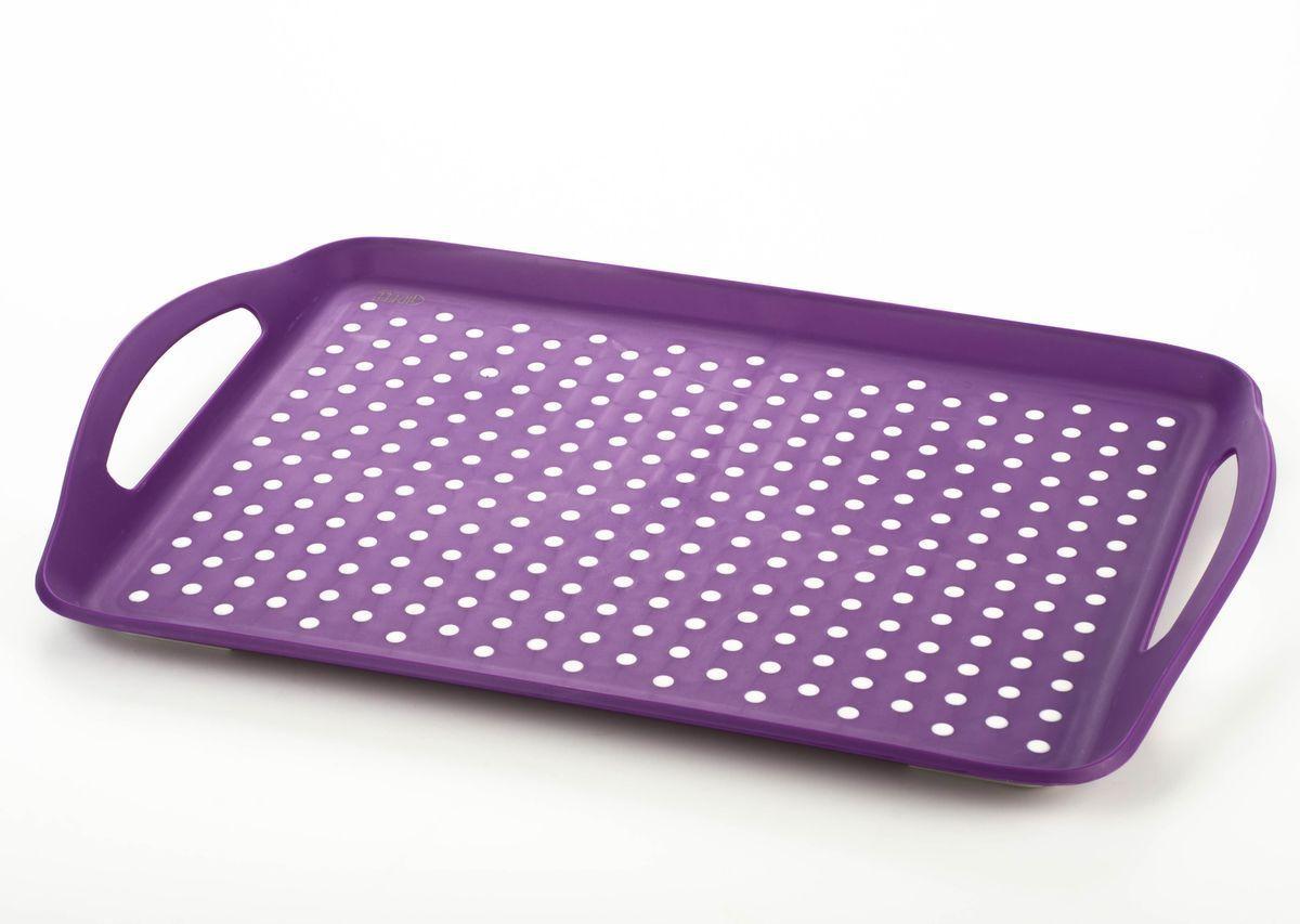 Поднос Gipfel, цвет: фиолетовый, 41,5 х 29 х 4,5 см3735Поднос Gipfel, изготовленный из прочного пластика, станет незаменимым предметом для сервировки стола. Для удобства переноски предусмотрены удобные ручки и высокие бортики.Такой поднос станет полезным и практичным приобретением для вашей кухни.Размеры подноса: 41,5 х 29 х 4,5 см.