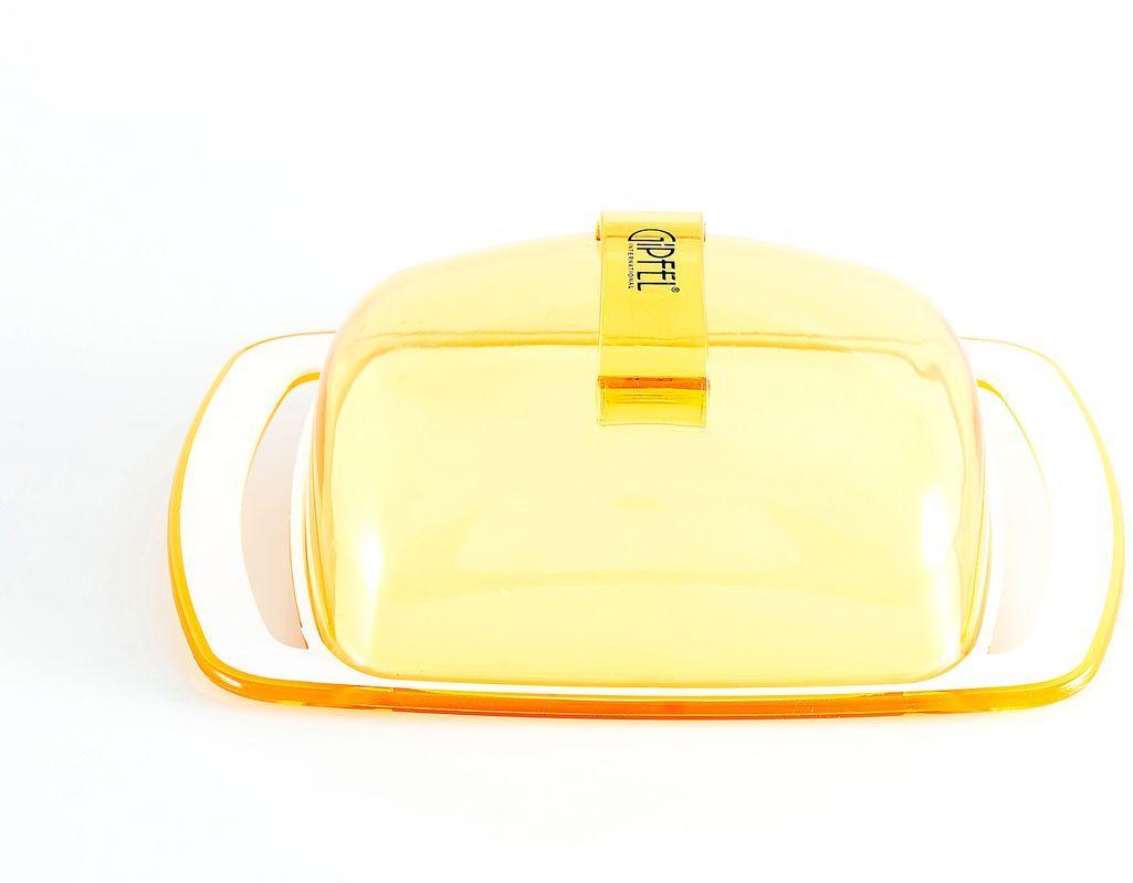Масленка Gipfel Arco, цвет: желтый, белый, 18,5 х 11,8 х 6,7 см3748Масленка Gipfel Arco, выполненная из высококачественного пластика, предназначена для красивой сервировки и хранения масла. Она состоит из подноса и крышки. Масло в ней долго остается свежим, а при хранении в холодильнике не впитывает посторонние запахи. Масленка идеально подойдет для сервировки стола и станет отличным подарком к любому празднику. Посуда Gipfel изготовлена только из качественных, экологически чистых материалов. Также уделяется особое внимание дизайну продукции, способному удовлетворять вкусы даже самых взыскательных покупателей.