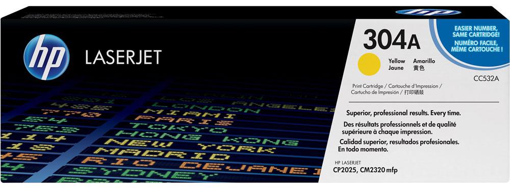 HP CC532A, Yellow тонер-картридж для Color LaserJet CP2025/CM2320CC532AИспользование расходных материалов HP 304 LaserJet повысит привлекательность вашего бизнеса. Тонер HP ColorSphere обеспечивает профессиональное качество печати - насыщенные цвета, четкость текста и реалистичность фотографий. Поддерживайте высокую производительность с неизменно качественными, надежными оригинальными расходными материалами HP.Оцените насыщенные цвета и четкость графических изображений. Не ограничивайтесь текстом - создавайте фотореалистичные изображения. Разборчивый текст и четкость деталей станут лучшей рекламой. Тонер нового поколения HP ColorSphere позволяет печатать рекламные материалы высокого разрешения для вашей компании.Интеллектуальные технологии в оригинальных лазерных картриджах HP позволяют оптимизировать качество печати и надежность. Равномерная цветопередача обеспечивается настройкой системы в соответствии с уникальными характеристиками тонера HP ColorSphere.