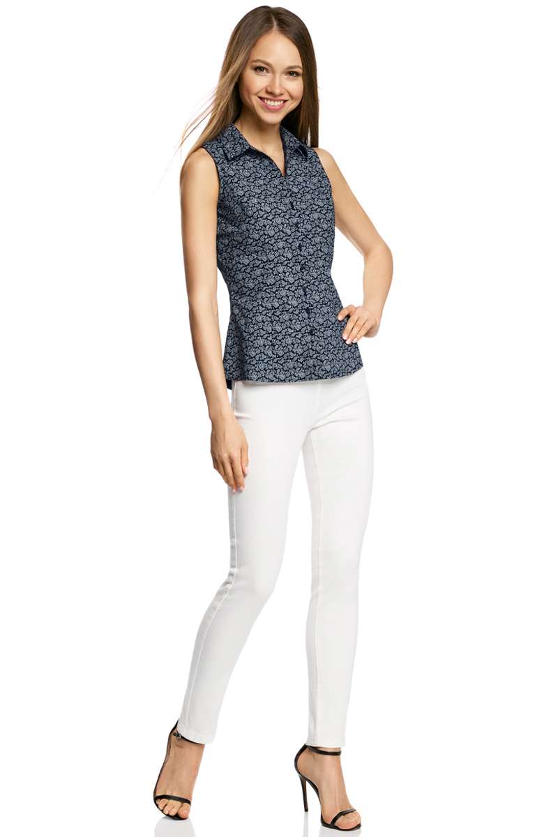 Купить Рубашка женская oodji Ultra, цвет: темно-синий, белый. 11405063-4B/45510/7912E. Размер 36-170 (42-170)