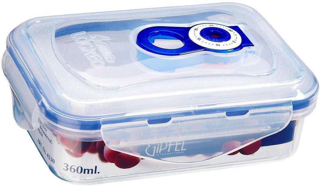 Контейнер вакуумный Gipfel, 360 мл4530Вакуумный контейнер Gipfel, изготовленный из высококачественного пищевого пластика, предназначен для сохранения свежести, аромата, цвета и питательных веществ любых продуктов питания. Контейнер может использоваться для маринования и для хранения продуктов в холодильнике и морозилке.Хранение продуктов в вакуумных контейнерах не заменяет обычных способов хранения, а дополняет их, ведь таким образом срок хранения увеличивается в 3-4 раза. Вакуум, образованный путем удаления воздуха из посуды, приостанавливает размножение бактерий и окисление продуктов. Так, сроки хранения в холодильнике (при температуре от 3°С до 5°С) возрастают (приблизительно): для мяса - с 3 до 10 дней, для сыра - с 12 до 25 дней, для овощей - с 4 до 8 дней, для хлеба - с 2 до 10 дней, для пирожных - с 4 до 10 дней.