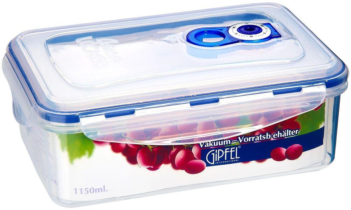 Контейнер вакуумный Gipfel, 1150 мл4536Вакуумный контейнер Gipfel, изготовленный из высококачественного пищевого пластика, предназначен для сохранения свежести, аромата, цвета и питательных веществ любых продуктов питания. Контейнер может использоваться для маринования и для хранения продуктов в холодильнике и морозилке.Хранение продуктов в вакуумных контейнерах не заменяет обычных способов хранения, а дополняет их, ведь таким образом срок хранения увеличивается в 3-4 раза. Вакуум, образованный путем удаления воздуха из посуды, приостанавливает размножение бактерий и окисление продуктов. Так, сроки хранения в холодильнике (при температуре от 3°С до 5°С) возрастают (приблизительно): для мяса - с 3 до 10 дней, для сыра - с 12 до 25 дней, для овощей - с 4 до 8 дней, для хлеба - с 2 до 10 дней, для пирожных - с 4 до 10 дней.