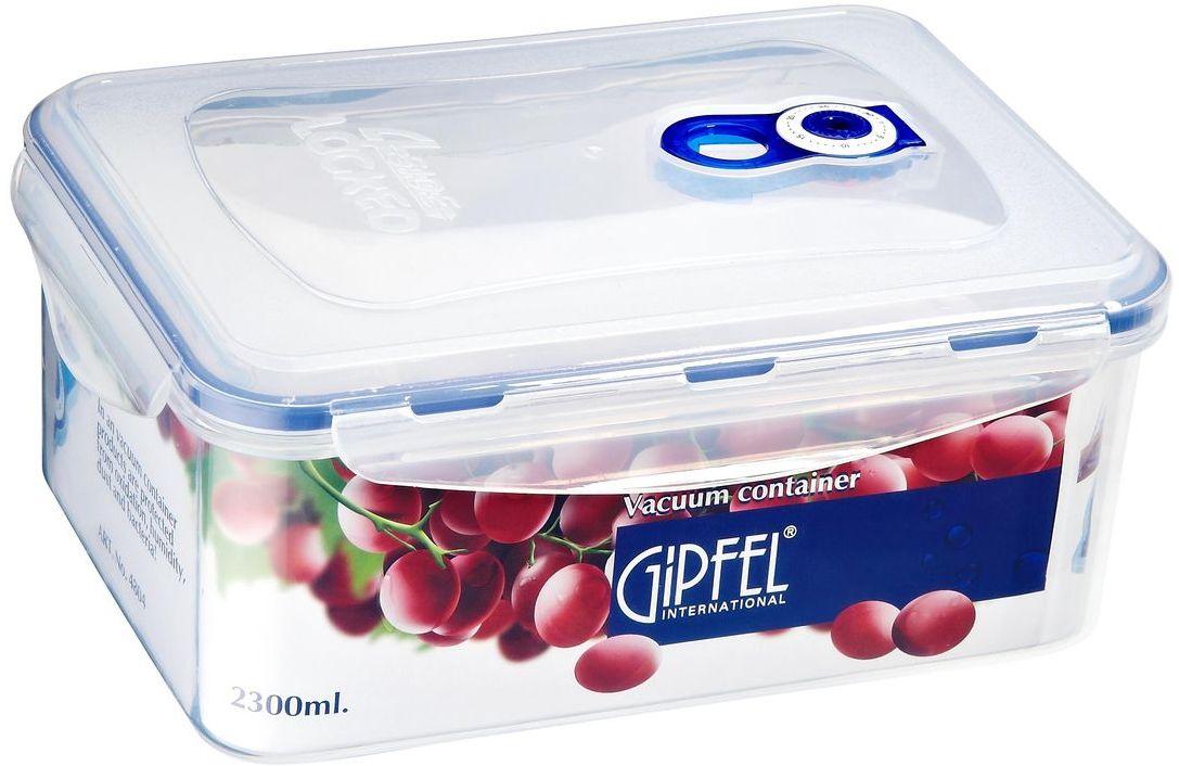 Контейнер пищевой Gipfel, 2,1 л4804Контейнер Gipfel, изготовленный из высококачественного пищевогопластика, предназначен для сохранения свежести, аромата, цвета ипитательных веществ любых продуктов питания. Контейнер можетиспользоваться для маринования и для хранения продуктов в холодильнике иморозилке. Хранение продуктов в вакуумных контейнерах не заменяет обычныхспособов хранения, а дополняет их, ведь таким образом срок храненияувеличивается в 3-4 раза. Вакуум, образованный путем удаления воздуха изпосуды, приостанавливает размножение бактерий и окисление продуктов. Так,сроки хранения в холодильнике (при температуре от 3°С до 5°С) возрастают(приблизительно): для мяса - с 3 до 10 дней, для сыра - с 12 до 25 дней, дляовощей - с 4 до 8 дней, для хлеба - с 2 до 10 дней, для пирожных - с 4 до 10 дней.