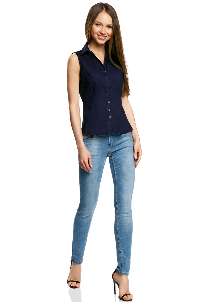 Рубашка женская oodji Ultra, цвет: темно-синий. 11405063-4B/45510/7900N. Размер 40-170 (46-170) рубашка женская oodji ultra цвет зеленый 11405063 4b 45510 6a00n размер 42 170 48 170