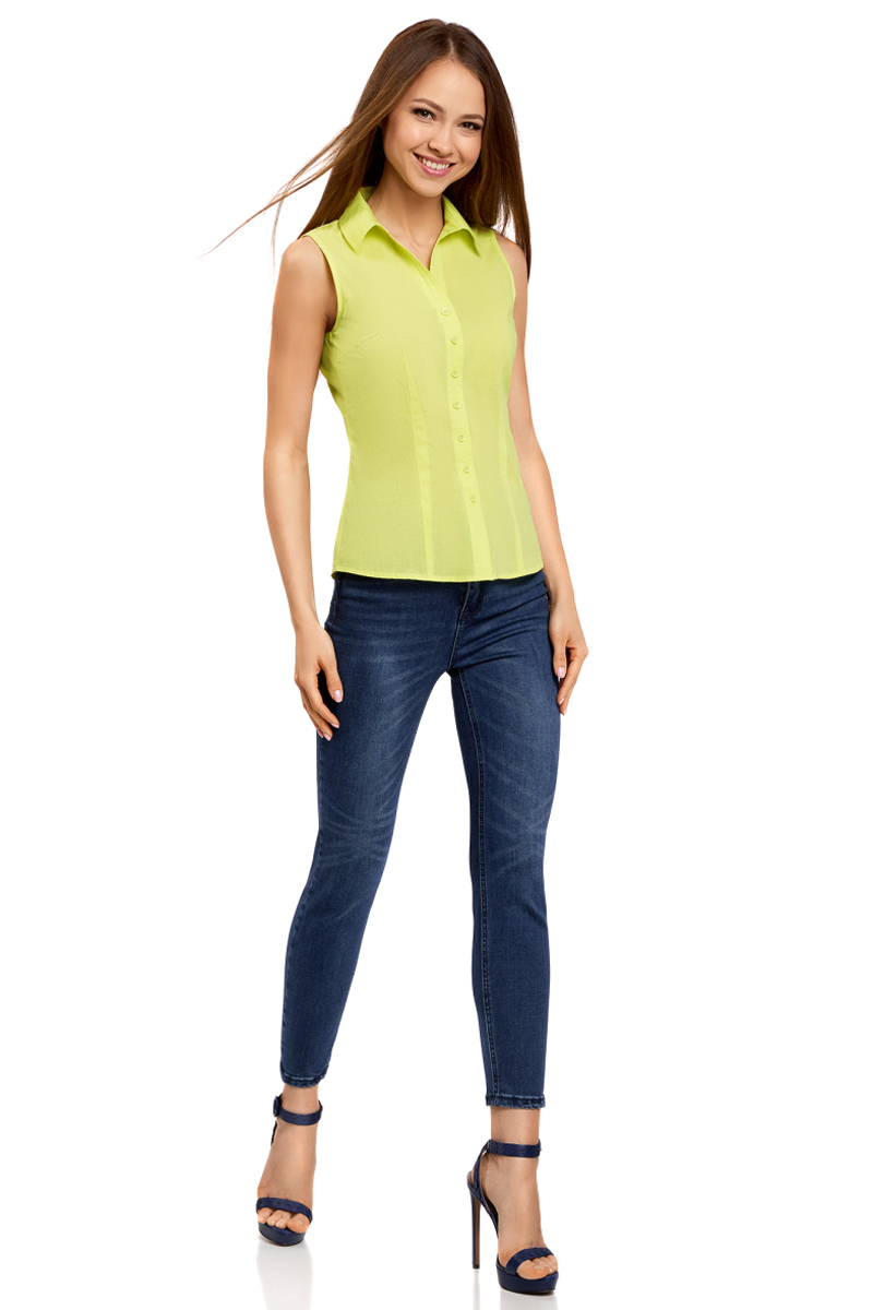Купить Рубашка женская oodji Ultra, цвет: зеленый. 11405063-4B/45510/6A00N. Размер 36-170 (42-170)