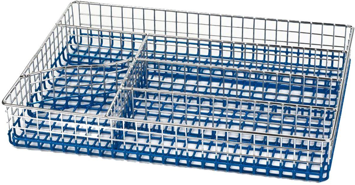 Лоток для столовых приборов Stahlberg, цвет: голубой, 30 х 22 х 5 см5137-SЛоток для столовых приборов Stahlberg изготовлен из высококачественного хромированного металла и представляет собой решетку с ячейками для посуды. Изделие имеет шесть отделений разного размера. Нельзя мыть в посудомоечной машине Лоток предназначен для компактного хранения столовых приборов, ножей и кухонных принадлежностей. Размер: 30 x 22 x 5 см