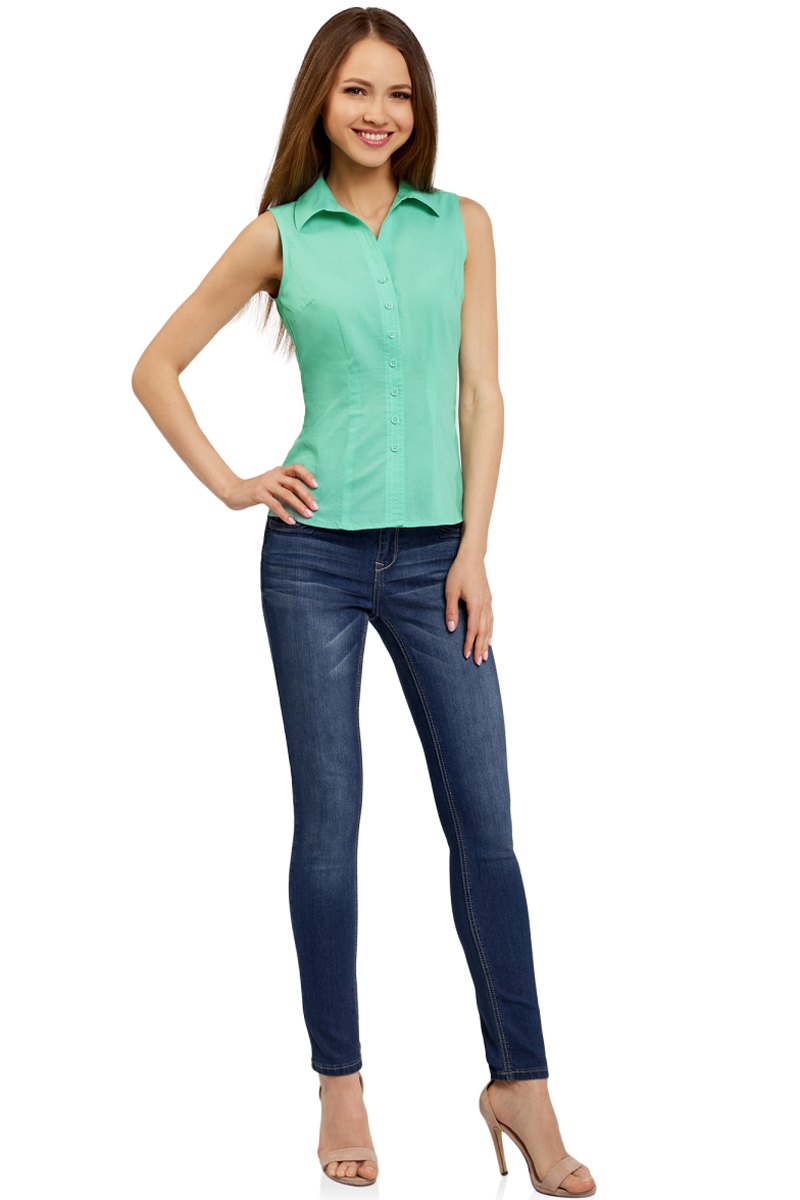 Рубашка женская oodji Ultra, цвет: ментоловый. 11405063-4B/45510/6500N. Размер 44-170 (50-170)11405063-4B/45510/6500NРубашка женская oodji Ultra выполнена из высококачественного материала. Модель с отложным воротником застегивается на пуговицы.