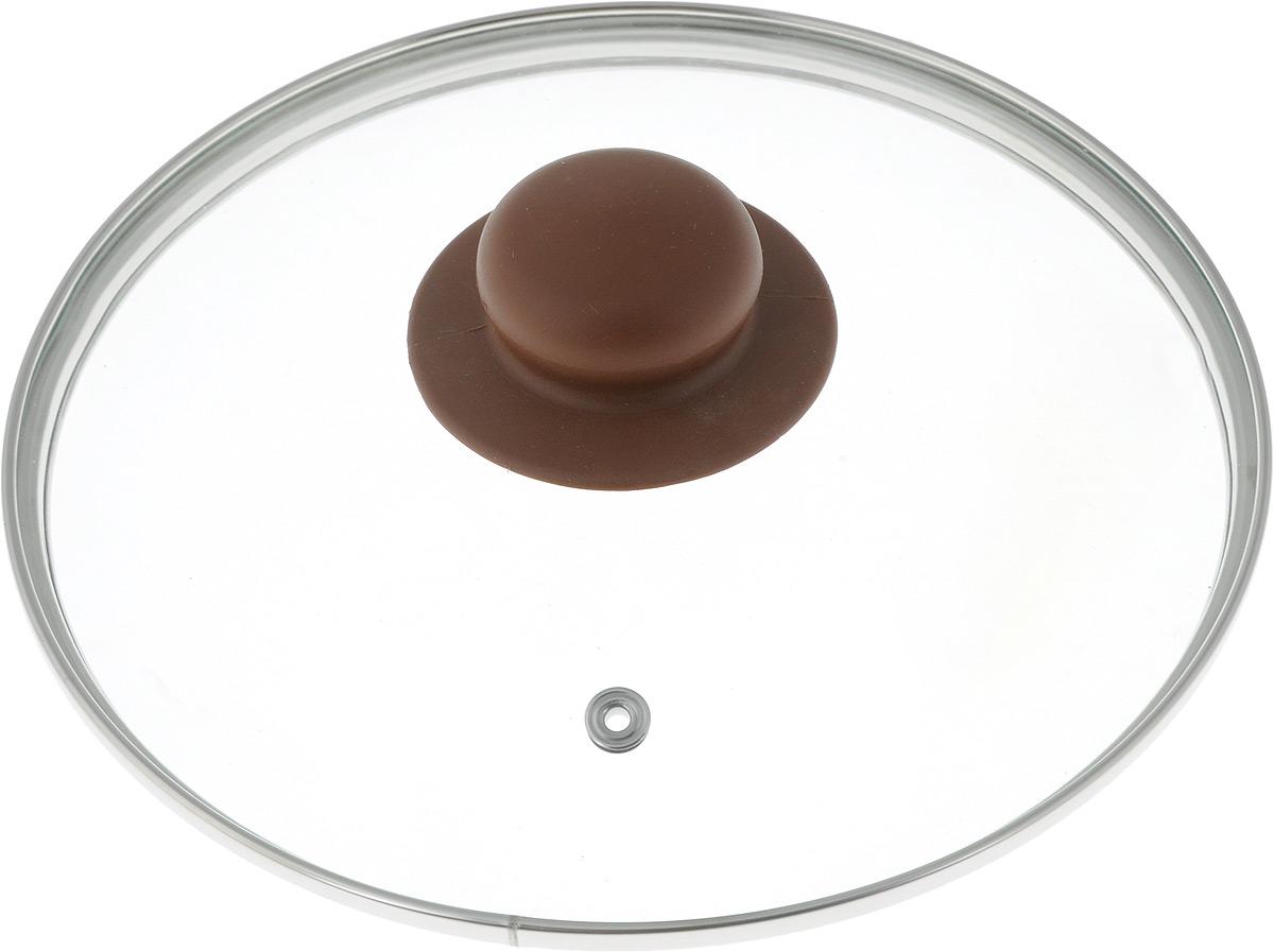 Крышка NaturePan, с металлическим ободом, цвет: коричневый. Диаметр 20 смЛ4891Крышка NaturePan изготовлена из высококачественного жаропрочного стекла. Изделие имеет металлический обод и отверстие для выпуска пара. Крышка оснащена удобной ненагревающейся ручкой из пластика. Такая крышка позволит следить за процессом приготовления пищи без потери тепла. Она плотно прилегает к краям посуды, сохраняя аромат блюд. Можно мыть в посудомоечной машине.