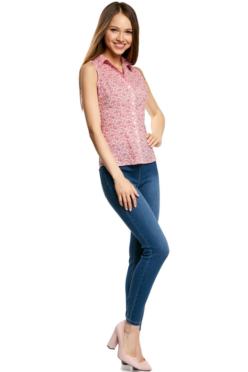 Рубашка женская oodji Ultra, цвет: белый, красный. 11405063-4B/45510/124CE. Размер 44-170 (50-170) рубашка женская oodji ultra цвет зеленый 11405063 4b 45510 6a00n размер 42 170 48 170