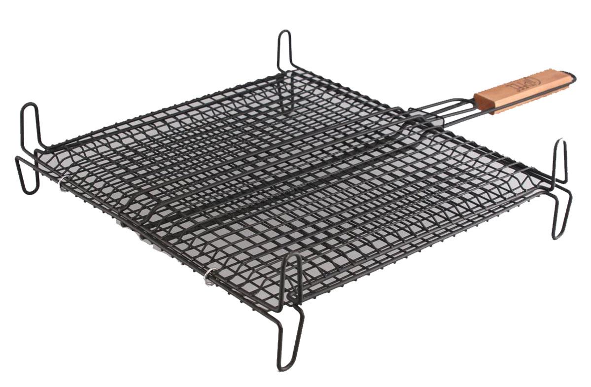 Решетка-гриль Gipfel, на ножках, 63,5 x 40,5 x 10 см5673Решетка-гриль Gipfel предназначена для приготовления гридя. Она изготовлена из нержавеющей стали, которая отличается высокими эксплуатационными характеристиками и крайне устойчива к физическим воздействиям. Сложно найти более подходящий для создания качественной кухонной посуды материал. Отличительной чертой металлической посуды, выполненной из подобной стали, является характерный сероватый оттенок поверхности и особый блеск. Это позволяет приготовить более здоровую пищу.Удобная ручка выполнена из дерева. Специальная конструкция позволяет задействовать максимальную площадь поверхности решетки для приготовления пищи. Глубокая форма решетки не позволяет упасть ни одному кусочку приготовляемой пищи.Размеры: 63,5 x 40,5 x 10 см