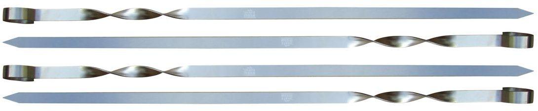 Набор шампуров Stahlberg, 4 шт5737-SПосуда STAHLBERG изготовлена только из качественных, экологически чистых материалов. Также уделяется особое внимание дизайну продукции, способному удовлетворять вкусы даже самых взыскательных покупателей. Сталь 8/10, из которой изготавливается посуда и аксессуары STAHLBERG, является уникальной. Она отличается высокими эксплуатационными характеристиками и крайне устойчива к физическим воздействиям. Сложно найти более подходящий для создания качественной кухонной посуды материал. Отличительной чертой металлической посуды, выполненной из подобной стали, является характерный сероватый оттенок поверхности и особый блеск. Это позволяет приготовить более здоровую пищу.